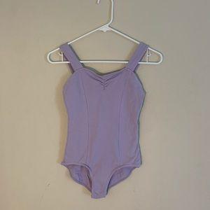 Lilac cotton ballet leotard w/ cinched neckline
